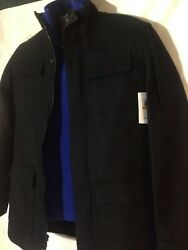 CALVIN KLEIN Men's Small Black Wool Blend Coat Dressy Refined Multi Pocket NEW