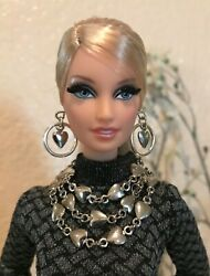 Handmade Jewelry for Barbie Necklace And Earrings Silver Heart Chains