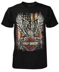 Harley Davidson Men#x27;s Custom Freedom Short Sleeve Crew Neck Tee Black $29.95