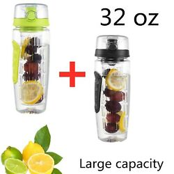 Fruit Infuser Water Bottle 32oz Green and Black Sport Cup Kid Gift Free shipping