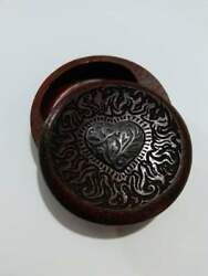 Vintage Wooden Carved Silver Heart Trinket Jewelry Pill Ring Box magnetic sun