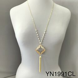 Long Gold Chain beaded Half Wood Clear Clover Cut Out Tassel Pendant Necklace