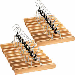 High Grade Wooden Pants Hangers with Clips Non Slip Slack Skirt Hangers 20 Pack $27.66
