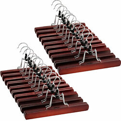 High Grade Wooden Pants Hangers with Clips Non Slip Slack Skirt Hangers 20 Pack $28.27