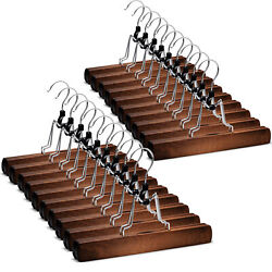 High Grade Wooden Pants Hangers with Clips Non Slip Slack Skirt Hangers 20 Pack $28.94