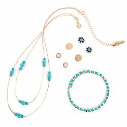 Plunder Posse - June 2019 - Turquoise  Necklace Bracelet and Earrings Set - NEW!