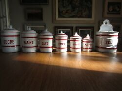 Rare Set of French Enamelware Canisters with Salt Box  Container c. 1920's