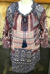 ONE WORLD LIGHTWEIGHT PEASANT BLOUSE TOP TIE NECK COLORFUL $14.99