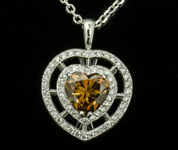 18K White Gold Pendant with 2.25 carat Fancy Orangy Brown Heart Shaped Diamond