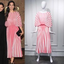 Celebrity Runway Stripe Contrast Concertina Pleated Dress Batwing Full Skirt