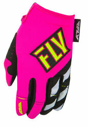 Fly Racing Womens and Youth Neon Pink Hi Vis Kinetic Dirt Bike Gloves MX ATV $16.98