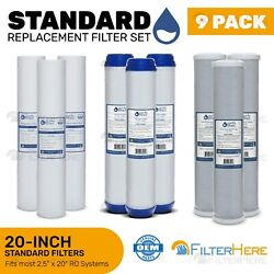 9 Pack Reverse Osmosis Light Commercial Replacement Filter 2.5quot; x 20quot;