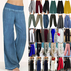 Women Plus Size High Waist Wide Leg Flared Pants Casual Palazzo Slacks Trousers $12.72