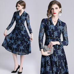 "2019 Autumn women's fashion temperament ""V""neck lace hollow out printing Dress"