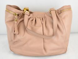 Miu Miu Light Pink Ruched Leather Hobo Tote Bag Side Pocket Logo Gold Tone HW