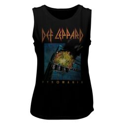 Def Leppard Faded Pyromania Black Women#x27;s Muscle Tank Top