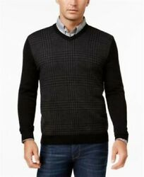 Club Room Black Mens Size Xl Gray and Black Houndstooth V-neck Wool Sweater