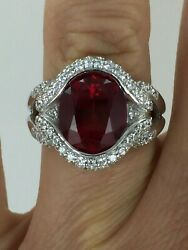 Gorgeous 9 CT Lab Created Ruby & Clear CZ 925 Silver Cocktail Ring Size 6.75