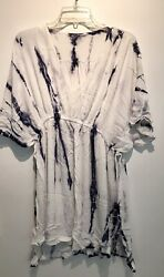 Pre Owned Freeloader Tie Dye White Beach Cover Up Size S M $12.00