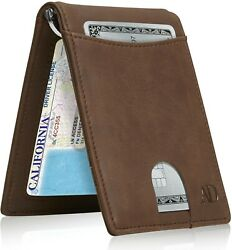 Slim Wallets For Men Bifold Mens Wallet With Removable Money Clip RFID Blocking $14.99