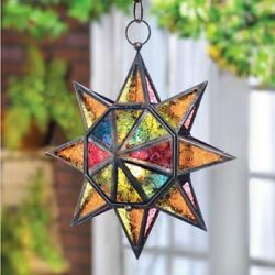 Multi Faceted Star 13in Hanging Pendant Lamp Lantern Candle Holder $30.95