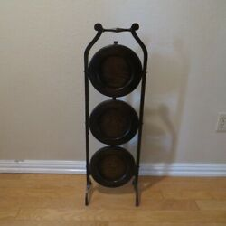 Vintage Antique English Folding 3 Tier Wood Pie Stand Cake Pastry Rack Shelf