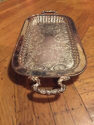 Antique Leonard Etched Silverplate Footed Platter Butler Serving 24x11