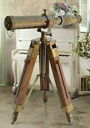 Nautical Vintage Antique Decorative Solid Brass Telescope w Wooden Gift Tripod $28.00