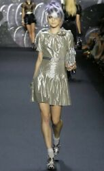 Anna Sui Runway Metallic Silver Short sleeve dress with belt Size 2