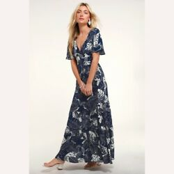 LULU#x27;S SAVANNA NAVY BLUE FLORAL PRINT MAXI DRESS XS $23.00