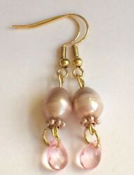 Gold Pink Freshwater Pearl Earrings Baroque Vintage Style Art Deco Plated