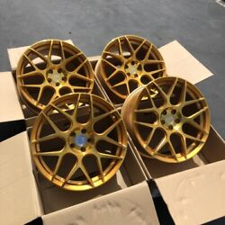 18x8 +35 AodHan LS002 5X100 Gold Machined Face Wheels (Used Set)