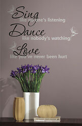 DANCE SING LOVE Wall Decals Quotable Stickers Inspirational Wall Decorations $10.00
