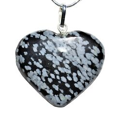 CHARGED Himalayan Snowflake Obsidian Crystal Heart Pendant 20quot; Chain $15.99