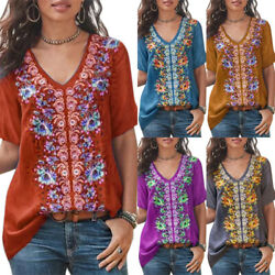 Women Boho Embroidered Tops T Shirt Short Sleeve Blouse Lady V Neck Loose Shirts
