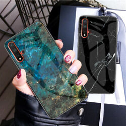 Marble Shockproof Tempered Glass Soft Edge Case Cover For Nokia 9 X7 4.2 7.1+