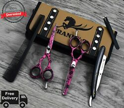 5.5 Inch Professional Salon Barber Hair Cutting Scissors Shears Thinner Set pink $38.34