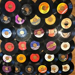 "Lot of 50 45 RPM 7"" Vinyl Records For Crafts Wall Art & Parties"
