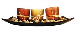 GlexyNovation Exotic Ornamental Candle Holders: Set of 3 Decorative Candle and