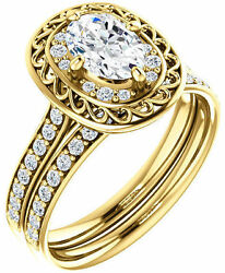 1.26 carat total Oval & Round Diamond Halo Engagement Wedding 14k Yellow Gold
