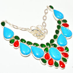 Sleeping Beauty TurquoiseOnyx and Garnet 925 Stamped Necklace 17-18