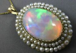ANTIQUE EXTRA LARGE 22.0CT AAA OPAL & PEARL 18K YELLOW GOLD 3D OVAL HALO PENDANT