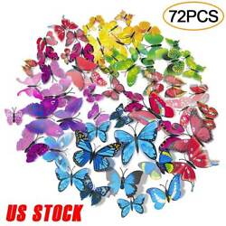 72 Pcs 3D Butterfly Wall Stickers Decal Removable Mural Home Room Nursery Decor $8.29