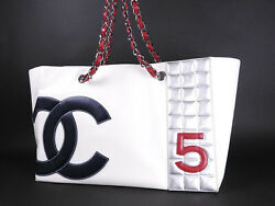 CHANEL CC No.5 Chain Tote Hand Bag Canvas Leather Vinyl White Navy A18643 A-9995
