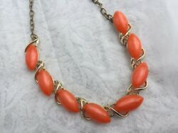 Vintage Orange MOONSTONE Thermoset LUCITE MOONGLOW Necklace Gold Tone 16