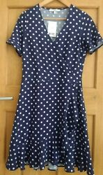 NEXT BLUE POLKA DOT FRILLED WRAP OVER SUMMER DRESS Size 6 NEW BNWT  $20.02