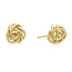 14k Yellow or White Gold Polished Love Knot Stud Earrings 9mm