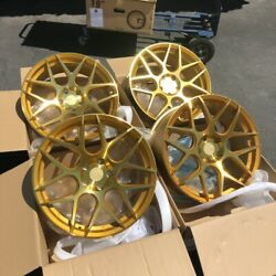 19x8.5 +35 AodHan LS002 5x114.3 Gold Wheels Rims (Use Set)