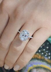 Certified Halo 4.Ct White Oval Diamond Engagement Wedding Ring in 14K White Gold