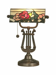 Dale Tiffany TT90186  Victorian 1 Light Broadview Bankers Desk Lamp with Art $174.99